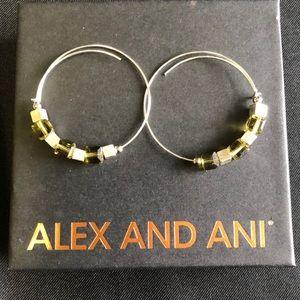 Alex and Ani Hoop earring - Fern (green) w/silver